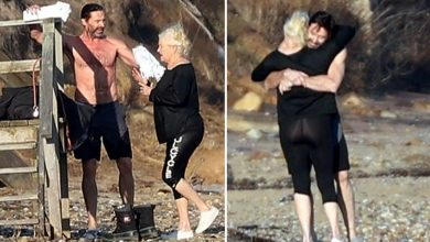 Hugh Jackman and wife go for a very chilly swim in the Hamptons