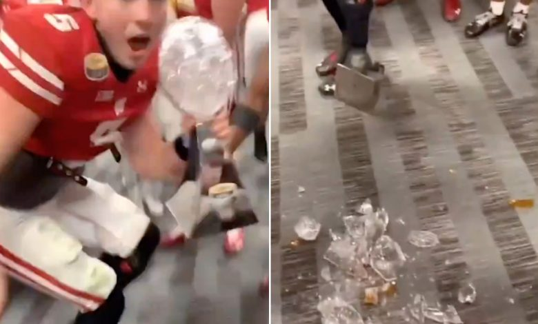 Wisconsin players shatter Duke's Mayo Bowl trophy during celebration