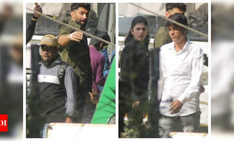 Aditya Roy Kapur and Sanjana Sanghi spotted shooting for 'Om: The Battle Within' in Juhu - See pics - Times of India