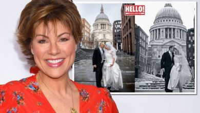 Kate Silverton, 50, recreates wedding photos with husband after two stone weight loss
