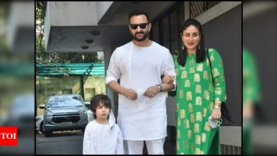 Mom-to-be Kareena Kapoor Khan stuns in green ethnic wear; Saif Ali Khan and Taimur twin in white as they attend the annual Christmas lunch - Times of India