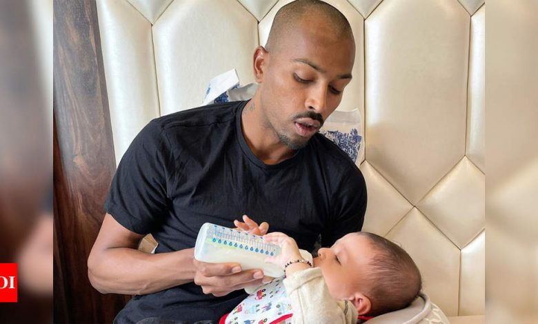 'National duty to father duty': Hardik Pandya reunites with son Agastya | Cricket News - Times of India