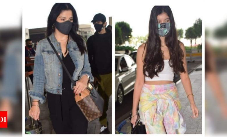 Shanaya Kapoor, along with mommy Maheep opt for a stylish look as they get papped at the Mumbai airport - Times of India