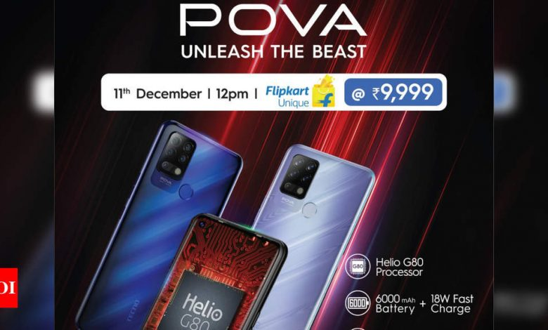 tecno pova:  Tecno Pova with Helio G80 processor to go on sale on Flipkart starting 12PM tomorrow - Times of India
