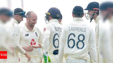 1st Test: Leach takes five wickets as nervous England near victory | Cricket News - Times of India