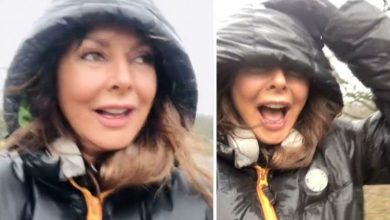 Carol Vorderman: Countdown legend forced to walk backwards as she battles stormy weather