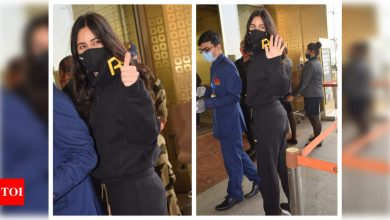 Katrina Kaif gets clicked in a rather cheery mood as she jets out of the city – view photos - Times of India