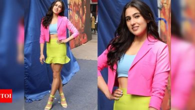 PHOTOS: Sara Ali Khan brings back colour blocking trend as she makes a vibrant appearance in the city - Times of India