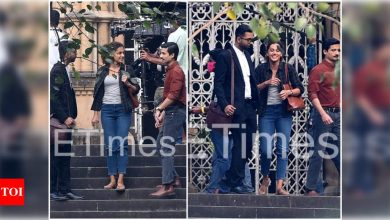 PICS: Taapsee Pannu, Priyanshu Painyuli, and 'lawyer' Abhishek Banerjee snapped shooting for 'Rashmi Rocket' in the city - Times of India