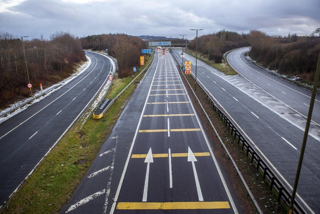Rush Hour at Hermiston Gait J1 of M8 in to Edinburgh is deserted as people stay home under new lockdown travel restrictions