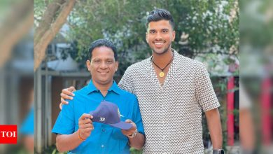 'Priceless possession': Washington Sundar shares pic with dad and debut Test cap | Cricket News - Times of India