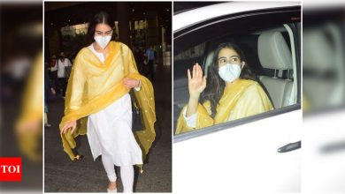 Sara Ali Khan keeps it cool and comfortable in ethnic wear as she gets spotted at the airport - Times of India