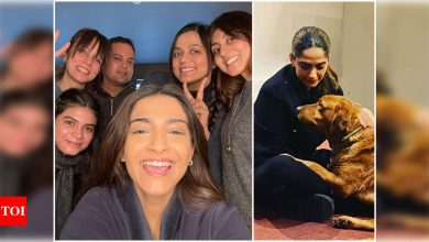 Sonam Kapoor is all smiles giving a glimpse of her sets from 'Blind' calling it 'The A Team' - Times of India