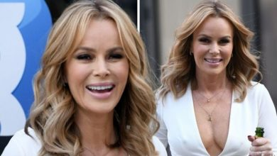 Amanda Holden goes braless in racy dress as she celebrates outside ahead of 50th birthday