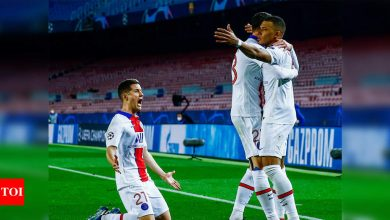 Champions League: Kylian Mbappe hat-trick stuns Barcelona to put PSG in sight of quarter-finals   Football News - Times of India