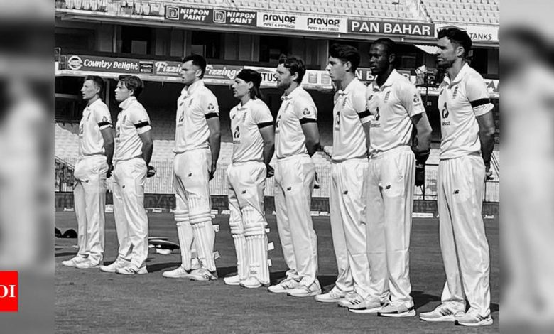 England players sport black armbands to pay tribute to Captain Tom Moore   Cricket News - Times of India