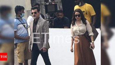 Exclusive Photos: Madhuri Dixit Nene and Sanjay Kapoor debut new looks as they shoot for their next venture at the film studios - Times of India