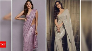Fashion Faceoff: Mouni Roy or Janhvi Kapoor- who rocked the sequin saree look better? - Times of India