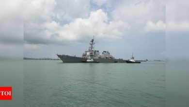 First US warship transits Taiwan Strait since Biden inauguration - Times of India