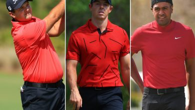 Golfers support Tiger Woods by wearing his signature Sunday outfit