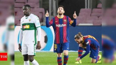 Lionel Messi double helps Barcelona see off Elche   Football News - Times of India