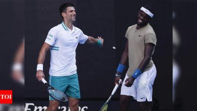 Novak Djokovic:  Novak Djokovic survives Tiafoe scare to stay in the hunt at Australian Open | Tennis News - Times of India
