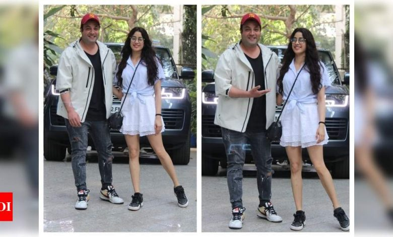 Photos: Janhvi Kapoor steps out with co-star Varun Sharma to promote their film, 'Roohi' - Times of India