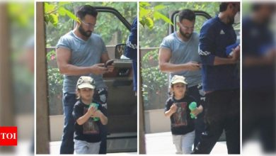Photos: Saif Ali Khan snapped outside his new house with son Taimur - Times of India