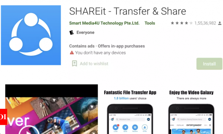 ShareIt app fixes issues that left users' data vulnerable to hackers - Times of India