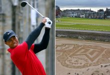 Tiger Woods tribute scrawled in sand of St. Andrews bunker after accident