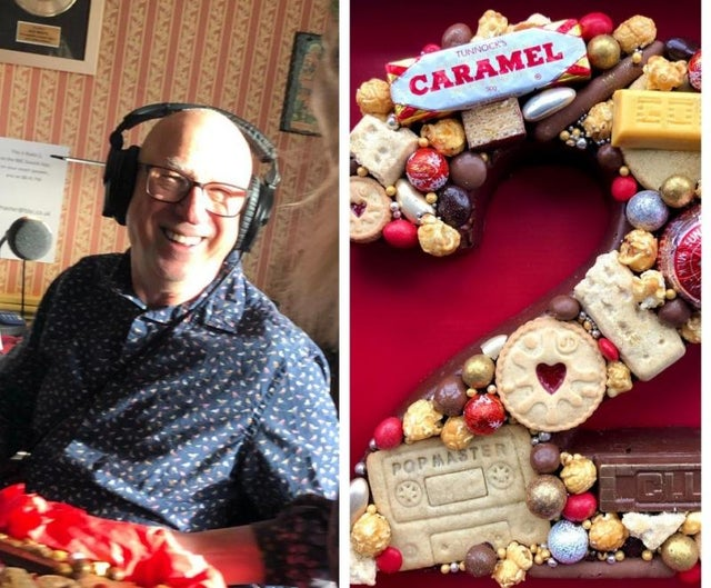 Ken Bruce, and the cake baked by 2013 Great British Bake Off winner Frances Quinn to celebrate the BBC Radio 2 show host's 70th birthday.