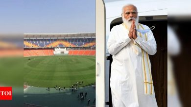 narendra modi stadium:  India vs England: Motera stadium renamed Narendra Modi Stadium as President Ram Nath Kovind inaugurates the venue | Cricket News - Times of India