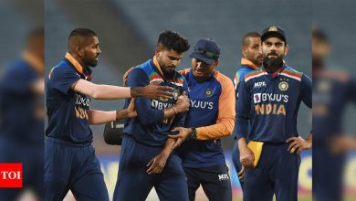 1st ODI: Shreyas Iyer dislocates left shoulder while fielding, in serious doubt for IPL | Cricket News - Times of India
