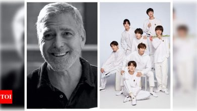 BTS shares hilarious video of George Clooney a.k.a. Brad Pitt reading 'Dynamite' lyrics and it is sure to leave you laughing out loud - Times of India