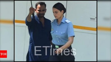Exclusive photos! Kangana Ranaut reports for duty as she marches on in Air Force uniform on the sets of 'Tejas' - Times of India