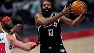 James Harden's 44 points allow hot-shooting Nets to hold off Pistons