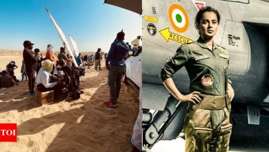 PIC: Kangana Ranaut braves the scorching heat of Jaisalmer to shoot for 'Tejas' action sequence - Times of India