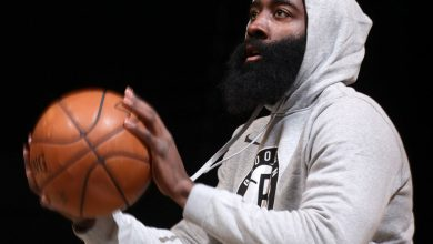 James Harden's road to recovery includes traveling with Nets