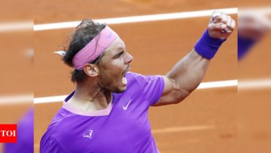 Nadal saves match point to beat Tsitsipas for 12th Barcelona title   Tennis News - Times of India