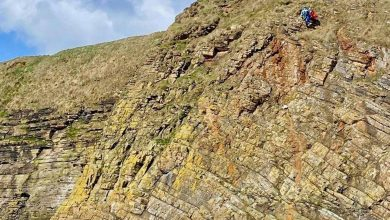 A coastguard rescue team returned a stranded dog to itsthankful owner after itfellfrom a cliff inOrkney