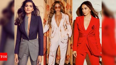 Celebs wear their pantsuits sans bralette - Times of India