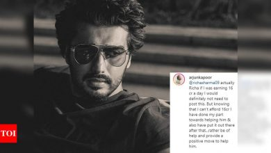 """""""If I was earning 16 cr a day I would definitely not need to post this,"""" Arjun Kapoor slams a troll who questioned the actor's call for donation - Times of India"""
