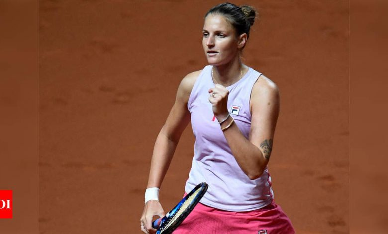 Pliskova fights back to set up clash with Barty in Stuttgart   Tennis News - Times of India