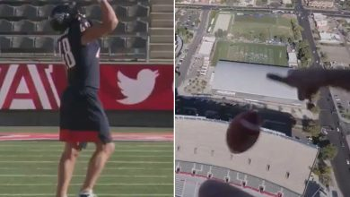 Watch Rob Gronkowski set Guinness World Record catching ball dropped from helicopter