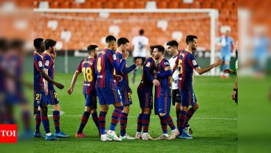 Lionel Messi double leads Barca to nail-biting win over Valencia   Football News - Times of India