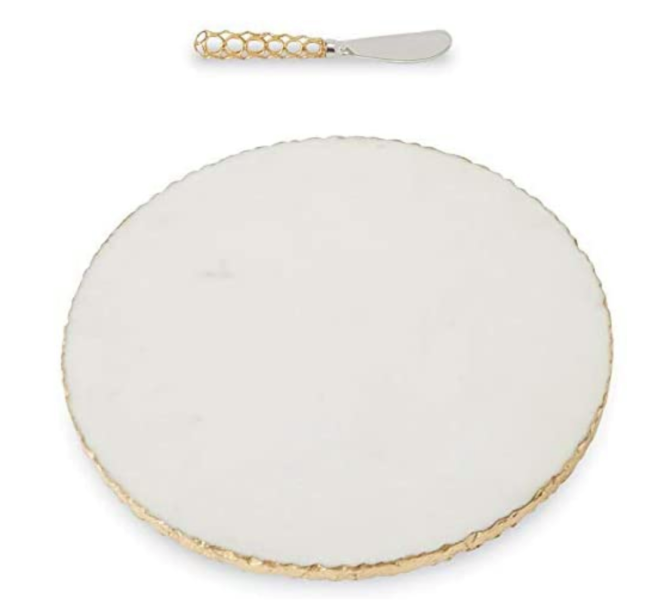 Mud Pie Gold Edge Marble Serving Board Set