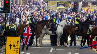 George Square: Five officers injured following violent scenes involving Rangers fans in Glasgow