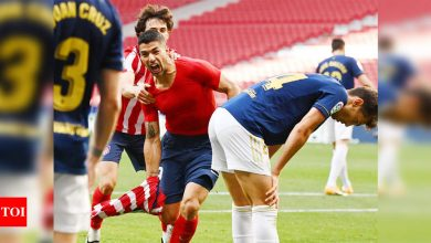 Late Luis Suarez strike sends Atletico Madrid to brink of title   Football News - Times of India