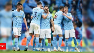 Premier League: Sergio Aguero signs off in style as Man City celebrate title with Everton rout | Football News - Times of India