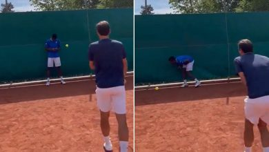 Roger Federer laughs after hitting Gael Monfils with low blow in video